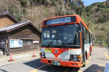 The connecting bus heading towards Amanohashidate (Ichinomiya)