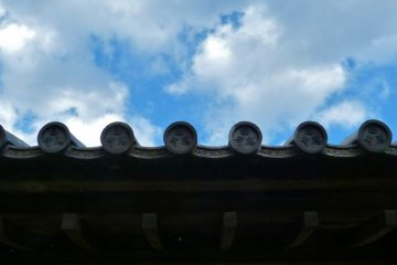 Blue sky and the roof of the temple gate