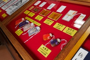 Good luck talismans sold within the temple