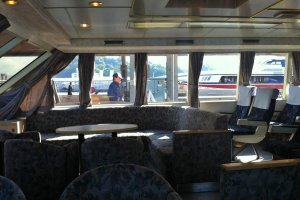 The comfortable lounge area at the front of the boat