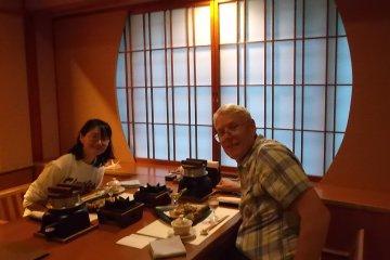 Rey & Miwa at dinner