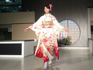 Beautiful red and white kimono with bits of other colors looks so flawless