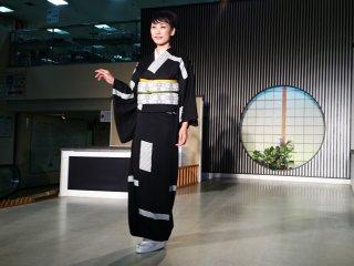 Classic black kimono is similar to a samurai style