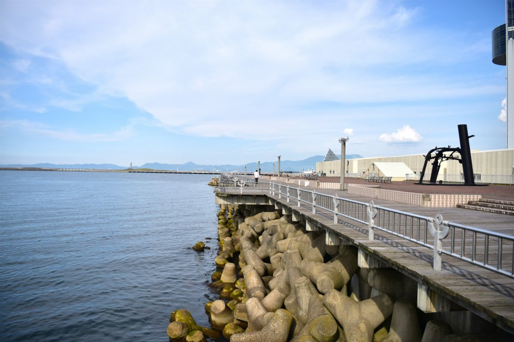 Đi bộ bên dưới cầu ở vịnh Aomori