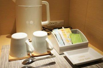 可以在房間裡喝茶和咖啡
