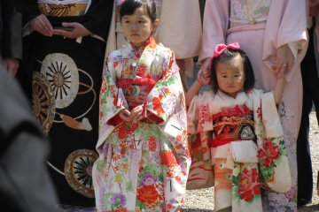 Girls in kimono. They were bored at the ceremony. :)