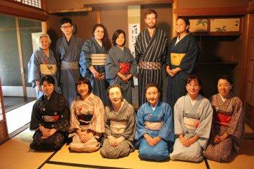 Trying on Matsusaka-style yukata