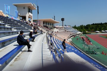 A sparce turnout on a wonderfully sunny day at the stadium