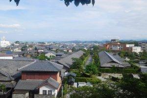 Vue de Matsusaku du haut des ruines du château