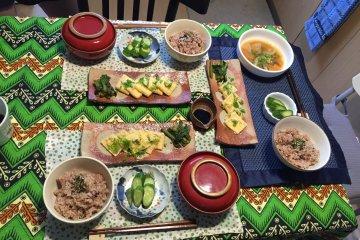 Our host in Kobe prepared a vegetarian breakfast for us