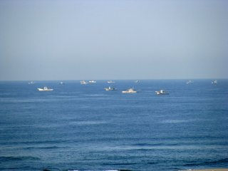 Fishing boats in the Pacific Ocean