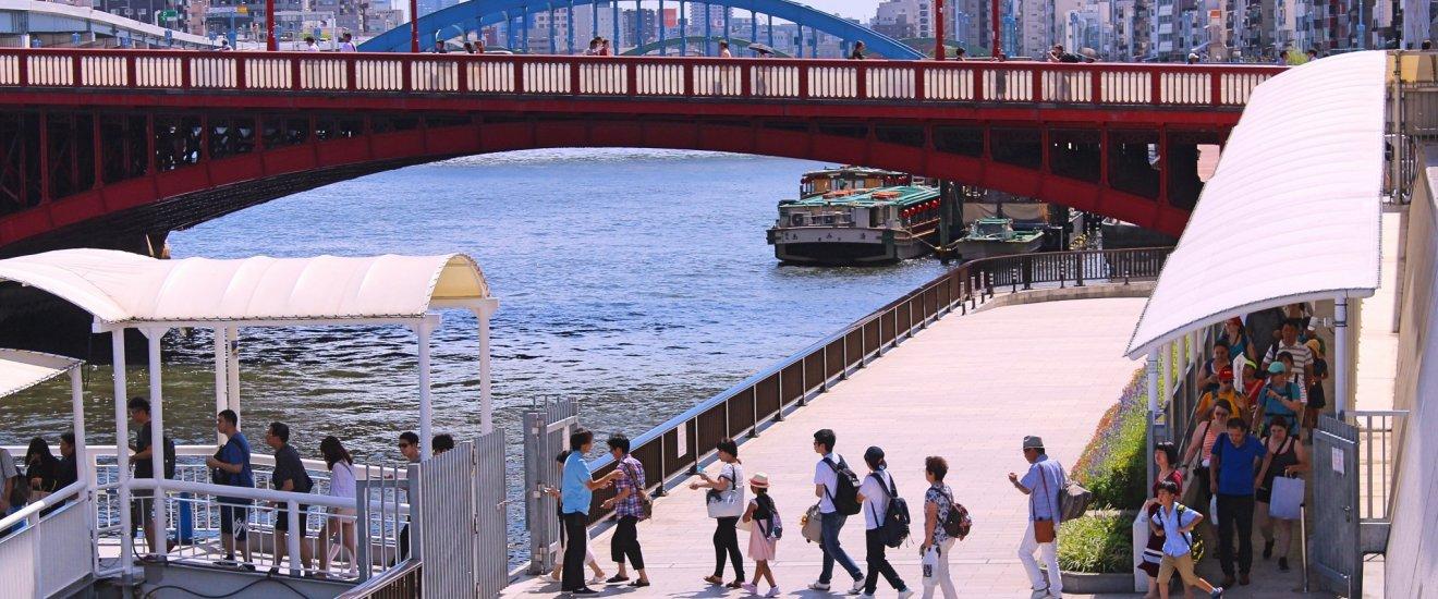 Passengers boarding a cruise boat