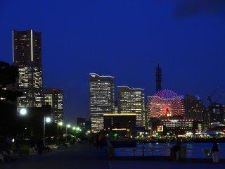 Illuminated skyscrapers in Minato-Mirai area