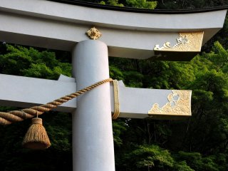 White torii with gold decoration