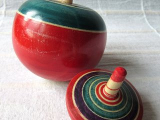 Miyagi Prefecture is famous for its wood cratfs. These spinning tops were made for me by a Kokeshi artist.