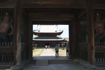 <p>Entering the inner grounds of the temple throught the Sanmon, guarded by fierce Nio</p>