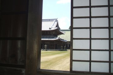 <p>View to the inner courtyard from the corridor that runs around the outside, connecting the outer buildings</p>