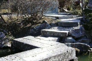 Ohyaji garden - a path leads up the mountain from the back of the garden