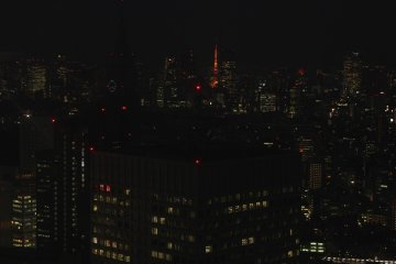 Vista desde el edificio de Gobierno Metropolitano de Tokio, se alcanza a apreciar la Torre de Tokio.