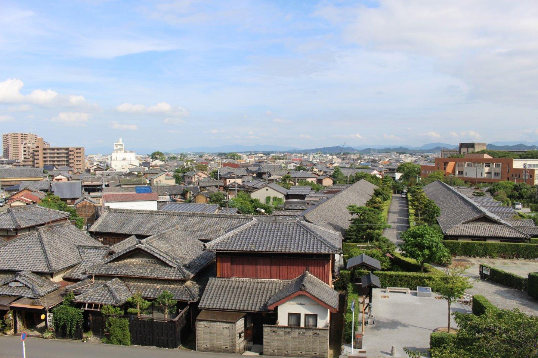 從城牆上俯瞰城下町的風貌