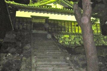 The front door at night