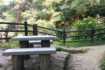 Several picnic tables dot the trail