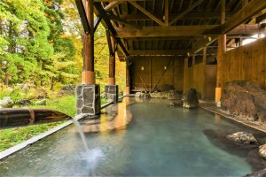 Akita is blessed with a bounty of hot springs, from Kuroyu to this Outdoor Onsen in a Ryokan of Nyutou Forest