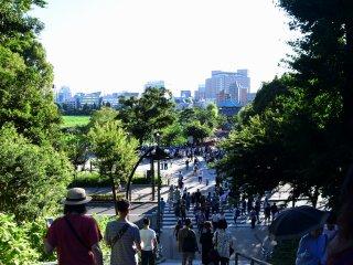 Many people were heading toward Shinobazu pond, not to enjoy lotus, but to catch Pokemon characters!