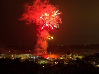 Fireworks over Matsushima Bay