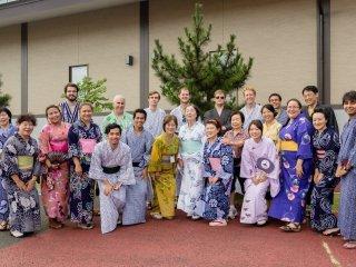 Festival goers in yukata