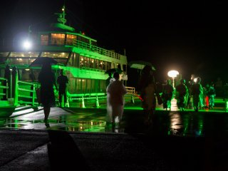 A mysterious green glow at the ferry port