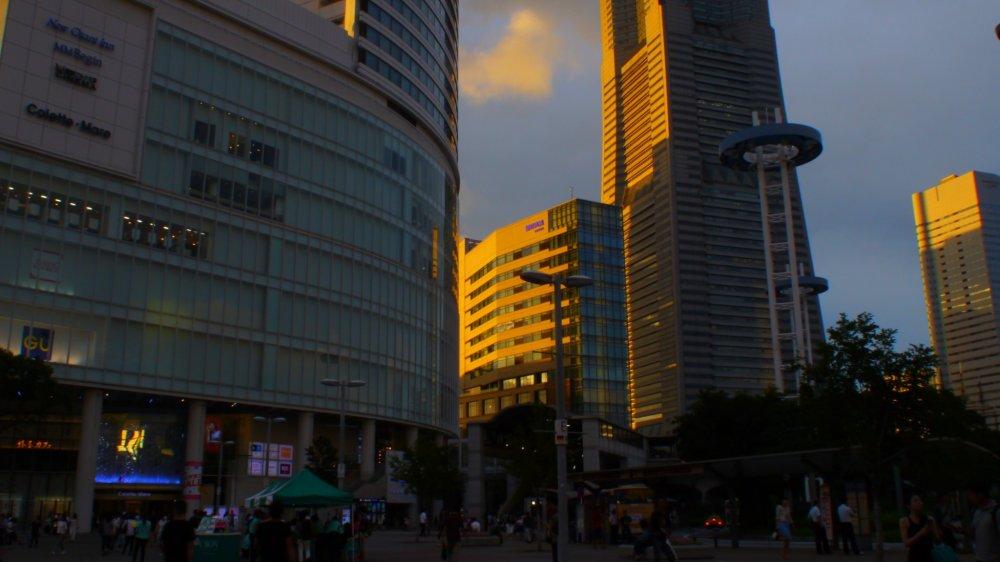 พระอาทิตย์ตกที่มินะโตะ มิไร แสงสีทองช่วยให้อาคารสีเทามีชีวิตชีวาขึ้น
