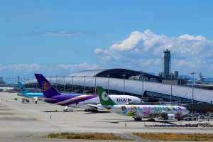 Planes and Kansai International Airport's terminal building.