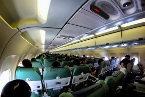 Inside the cozy airplane on the way to Tottori