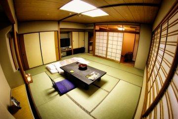 View of my room at the Izanro Iwasaki ryokan in Misasa valley