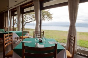 Stunning waterfront views from the dining room