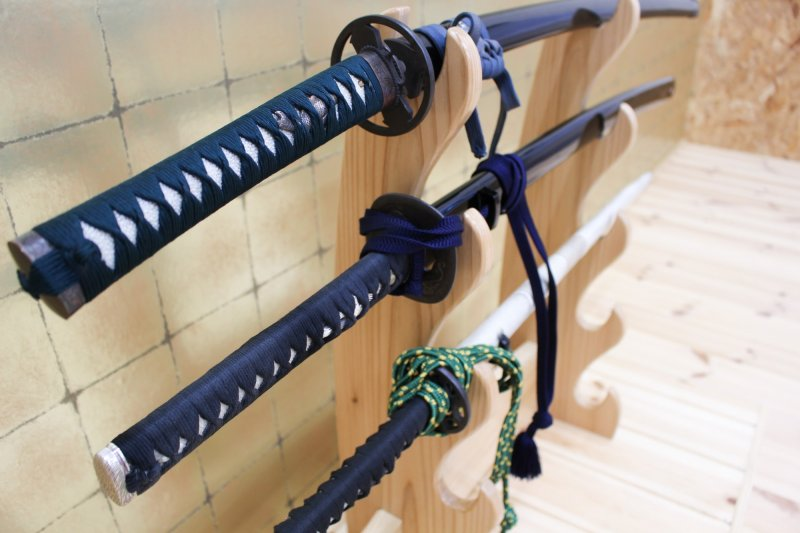 Sword collection in side the Abe Faction Saber Way dojo.