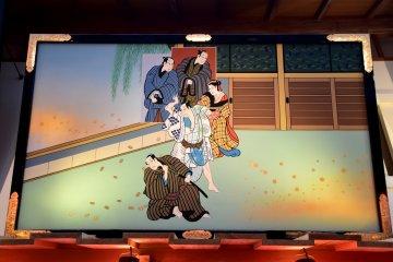 Nishiki-e (colored woodblock print)of a Kabuki scene