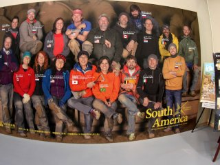 There is a huge photo of the international team of artists for this year