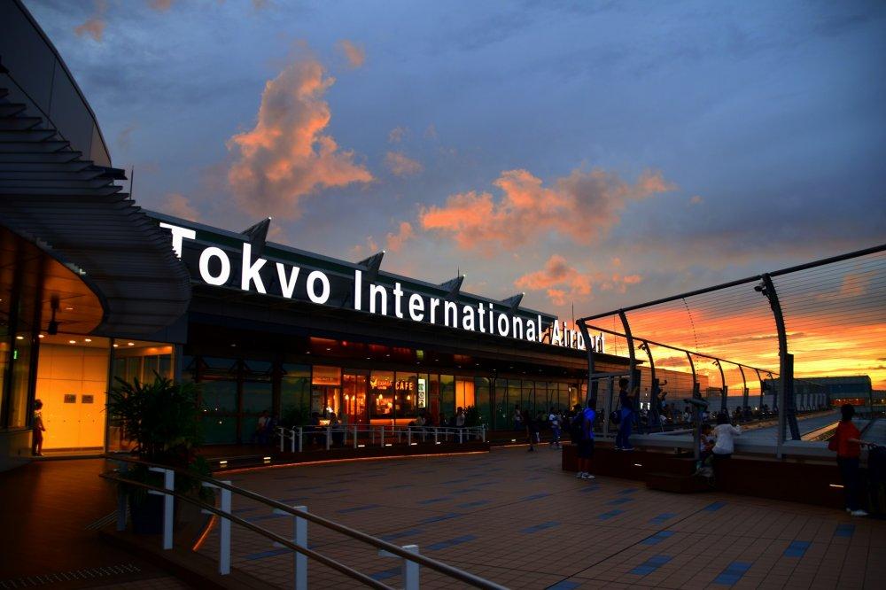 Tokyo International Airport under the burning sky