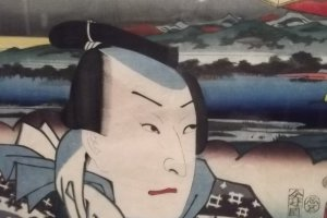 One of the kabuki actors, with Mount Fuji in the background