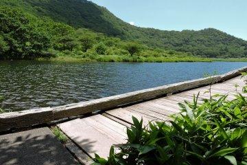 ทางเดินไม้ข้างทะเลสาบ