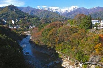 The Tonegawa River, the Suwakyo Gorge and Tanigawadake Peak from the bungee bridge