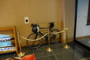 My trusty steed gets pride of place in the lobby - they treat guests just as well!