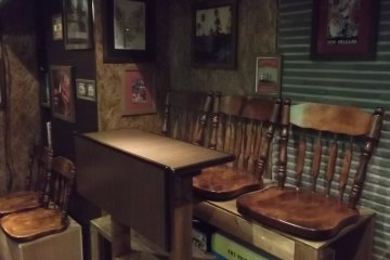 There are some seats at the back of the bar