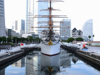 Look at the reflection of Nippon Maru on the water surface