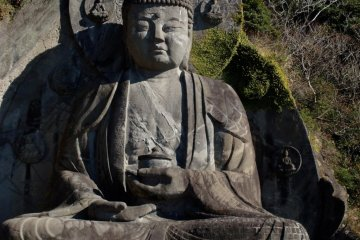 Japan's largest daibutsu (a big statue of Buddha), sculpted into the side of the mountain