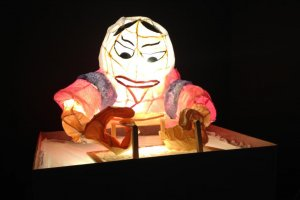 A figure of a woman making washi done in the Nebuta festival style - made by a 3rd grader.