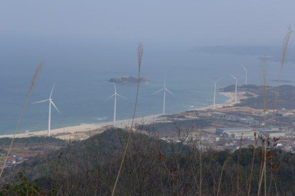 Cột điện gió trãi dài trên bãi biển!