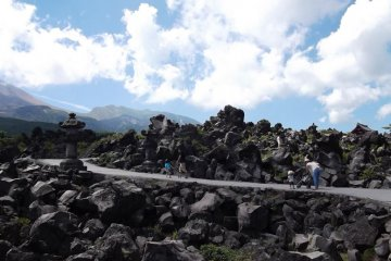 <p>The unique lava landscape at Oni-oshi-dashi</p>